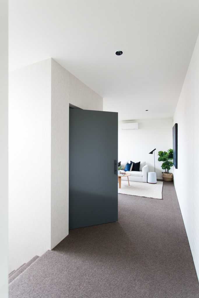 classic home lift with blue swing door