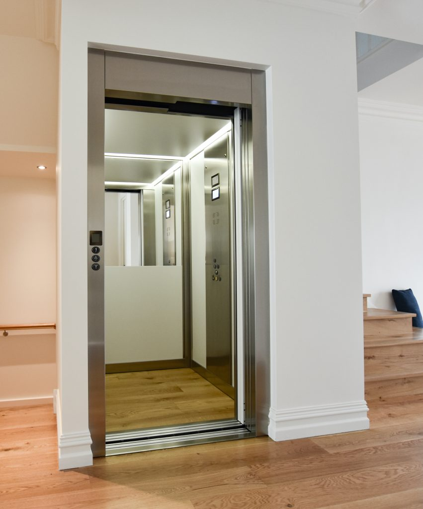 jewel home lift installed into perth home with custom wooden floors