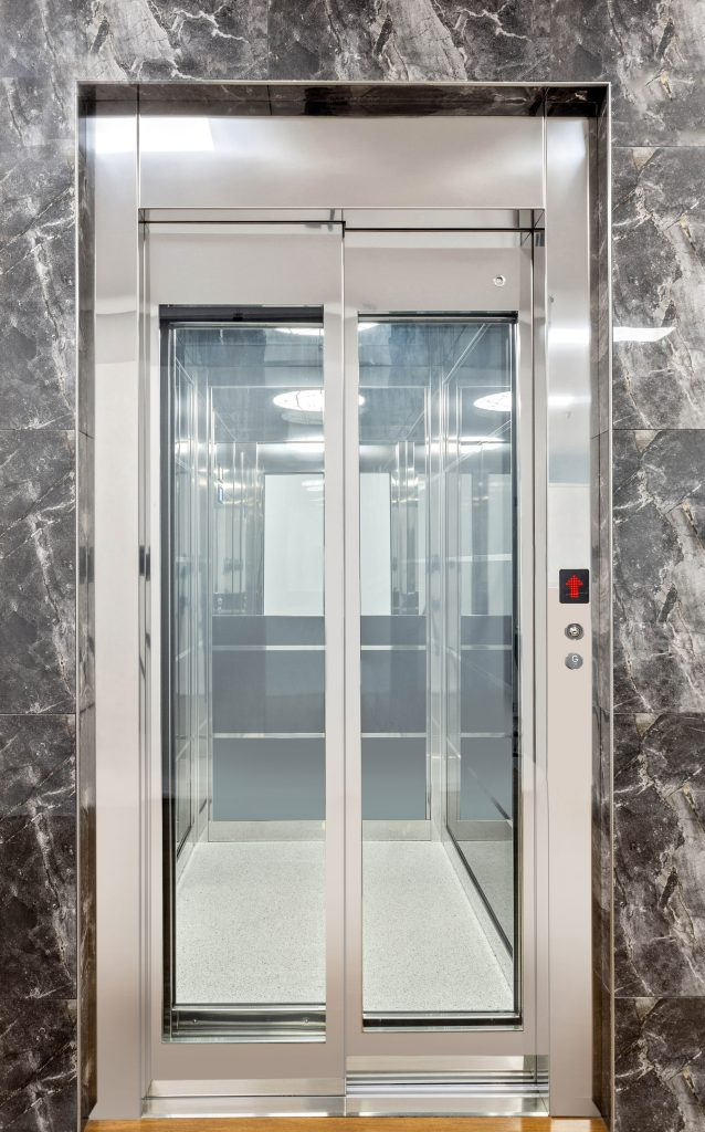 royal home lift design with grey polished door