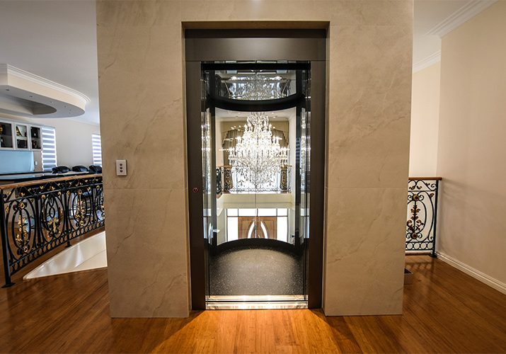 Inside the round panoramic home lift.