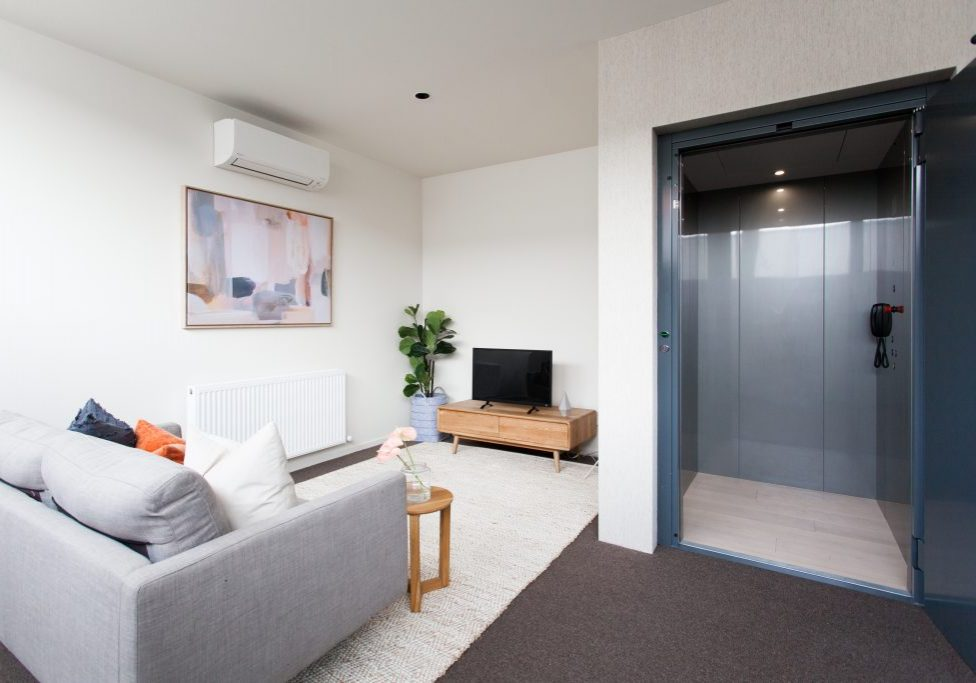 Perth living room with home lift installed