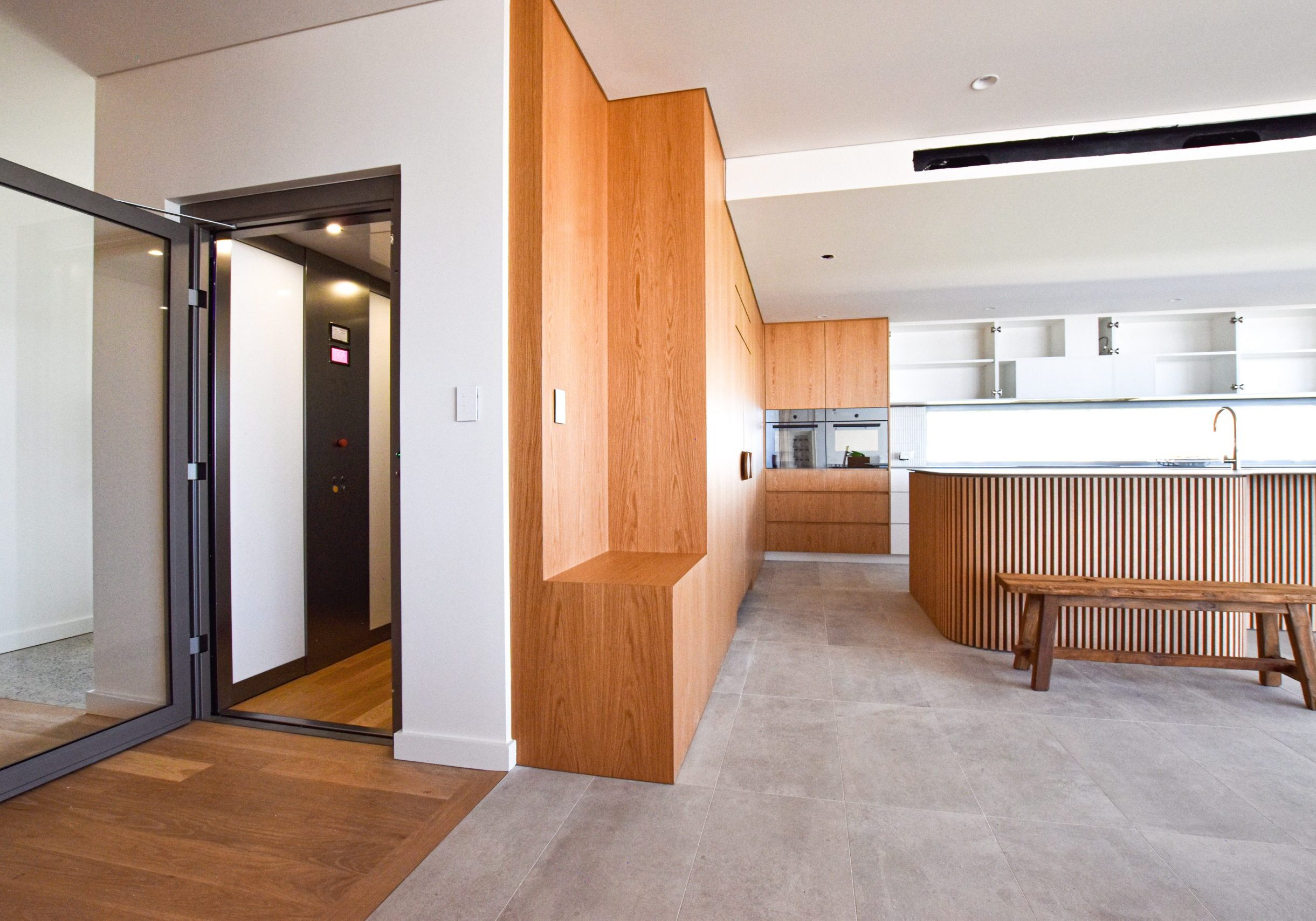 home elevator surrounded by wood design