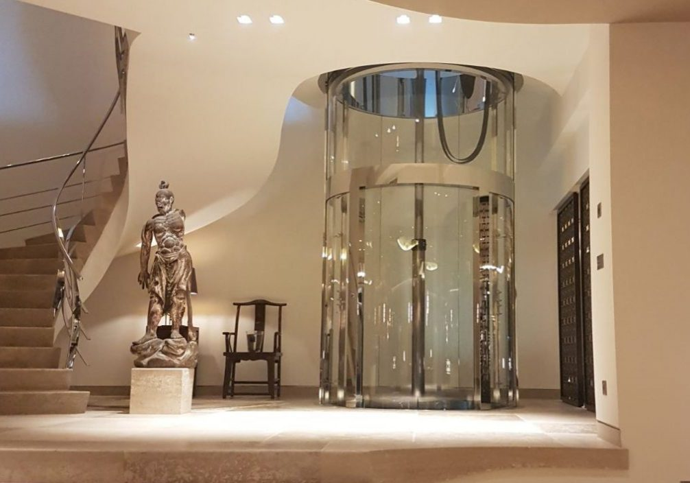 panoramic home lift package with glass doors